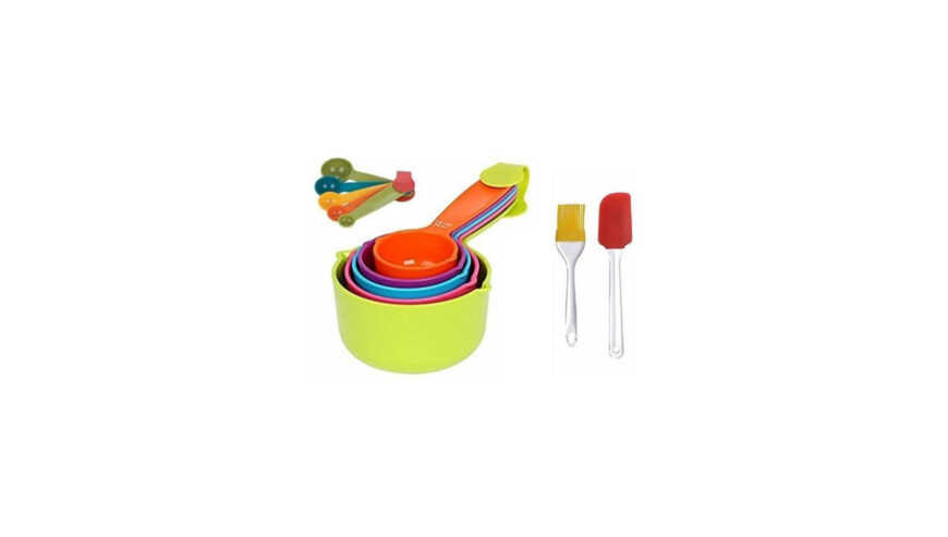 wanqlyn 1020 combo 10pcs colourfull measuring cups spetula set brush kitchen tool set